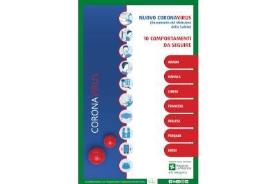 Coronavirus: dieci comportamenti da seguire versione multilingue