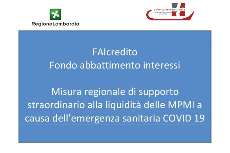 Bando FAIcredito: sostegno immediato alla liquidità delle MPMI, colpite dall'emergenza sanitaria ed economica del COVID 19