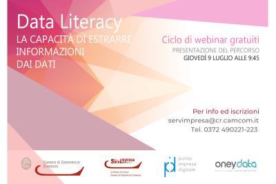 """Camera di Commercio. Evento di presentazione del percorso formativo gratuito """"Data Literacy: la capacità di trarre informazioni significative dai dati"""""""