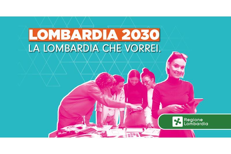 """Sagome di giovani e la scritta """"Lombardia 2030. La Lombardia che vorrei"""""""