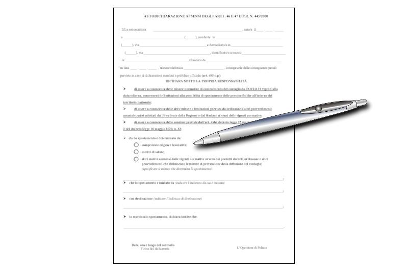 Modulo di autocerficicazione e penna