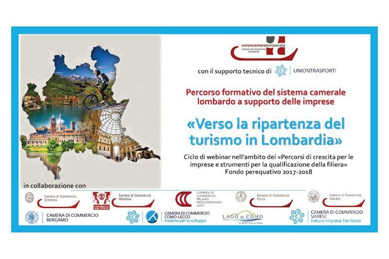 """Copertina delle brochure allegata con il titolo """"Verso la ripartenza del turismo in Lombardia"""""""