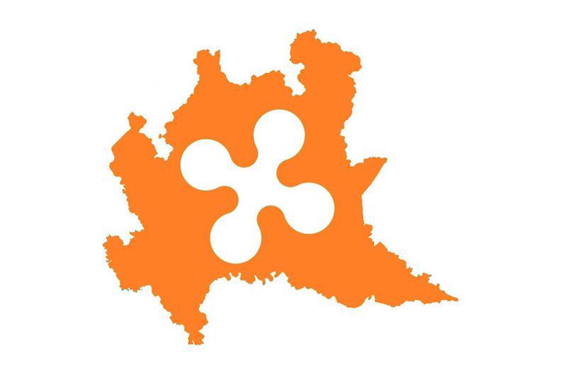 Sagoma della Lombardia colorata di arancione
