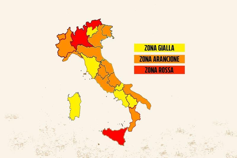 L'italia con le regioni colorate: Lombardia, provincia autonoma di Bolzano e Sicilia in 'zona rossa'