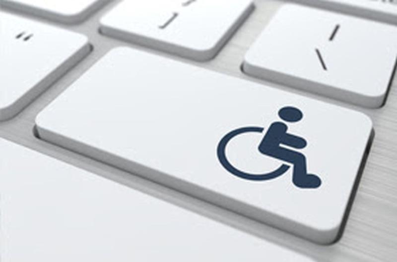 Omino stilizzato su sedia a rotelle simbolo della disabilità