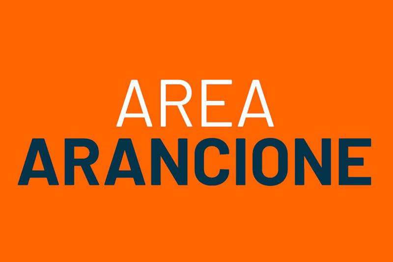 """Scritta grafica: """"Area arancione"""""""