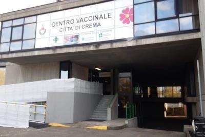 L'ingresso del centro vaccinale di Crema (da ilnuovotorrazzo.it)