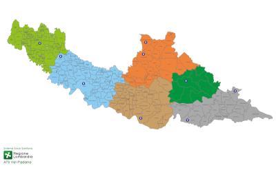 Cartina dell'ATS con l'indicazione dei centri vaccinali massivi