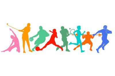 Sagome di persone che praticano vari tipi di sport