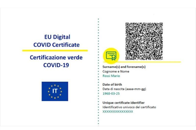 Esempio di una certificazione verde Covid
