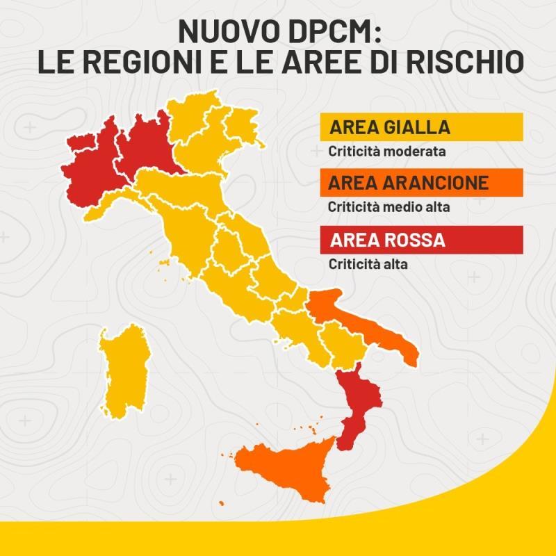 Cartina dell'Italia con le regioni colorate con i gradi di rischio, come riportato nel testo della notizia